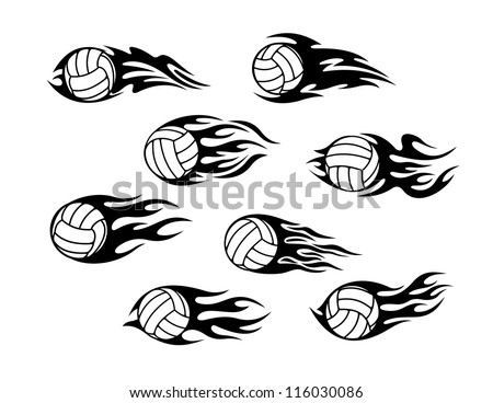 Set Volleyball Sports Tattoos Tribal Flames Stock Photo (Photo ...