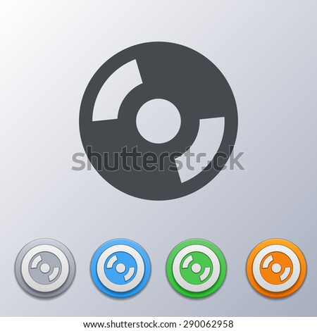 Set of volume icons 3d, gray, orange, green, blue, with a picture of an disc, vinyl record. - stock vector