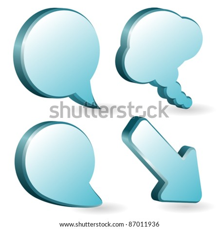 Set of volumetric speech and thought bubbles, element for design, vector illustration - stock vector