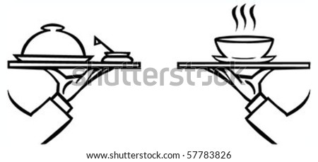 Set of waiter's hands with orders #2 isolated black contour on white background - stock vector