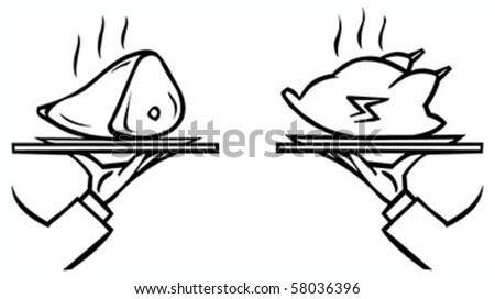 Set of waiter's hands with orders #6 isolated black contour on white background - stock vector