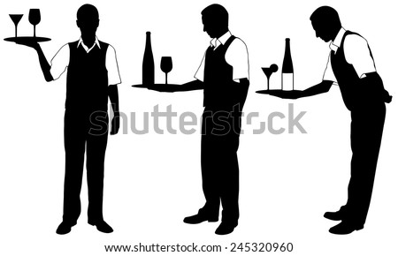 set of waiters with trays - stock vector