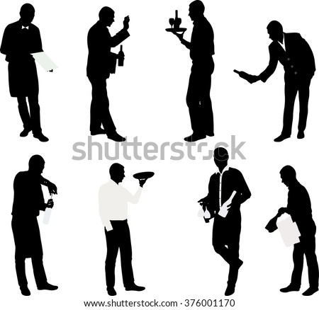 set of waiters with trays - vector - stock vector