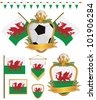 set of wales football supporter flags and emblems, isolated on white - stock vector