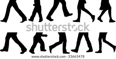 set of walkers silhouette - stock vector
