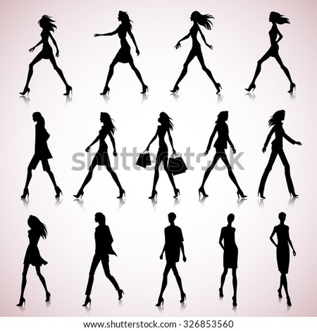 Set of walking female silhouettes in fashion clothes - stock vector