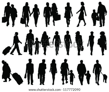 Set of walking people silhouette-vector - stock vector