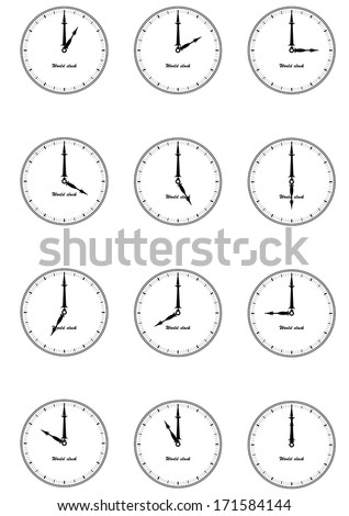 Set of wall clock for every hours, to indicate world international time zone. Different time, isolated on white background eps10, black and white design, vector art image illustration - stock vector