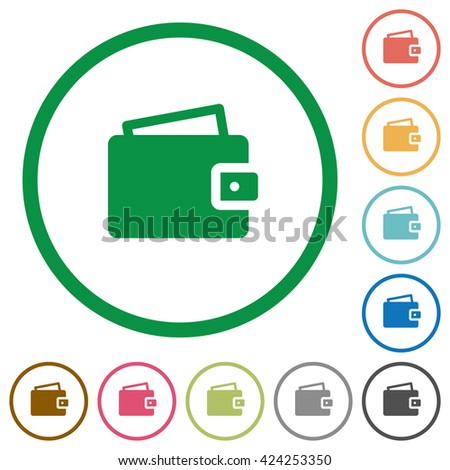 Set of wallet color round outlined flat icons on white background - stock vector