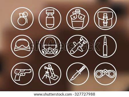 Set of war icons - stock vector