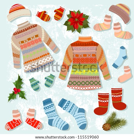 set of warm winter clothing - stock vector