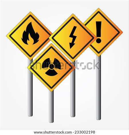set of warning sign vector on gray background    - stock vector