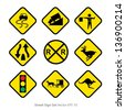 set of warning signs - stock vector