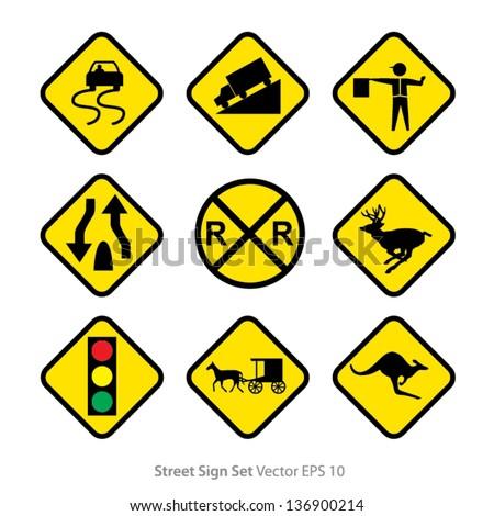 set of warning signs - stock vector