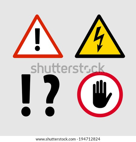 Set of warning signs for security clearance - stock vector