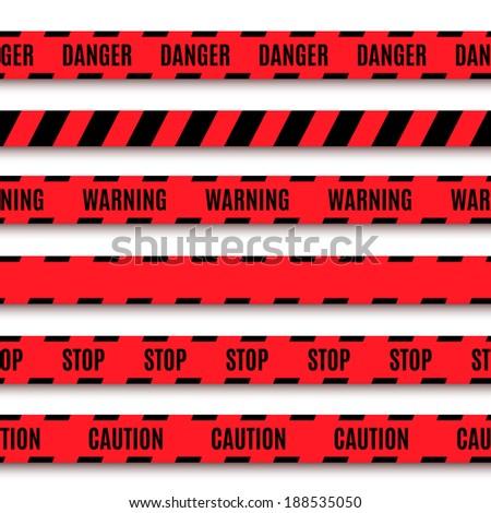 Set of warning tapes. Vector illustration - stock vector