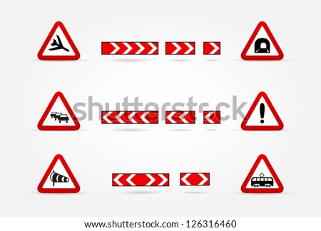 set of Warning traffic signs