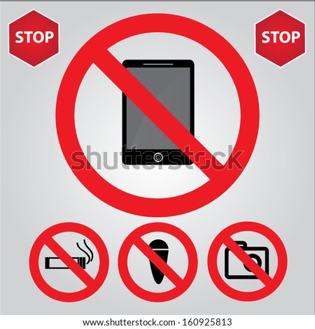 Set of warning vector icons signs, includes phone, cigarette, ice-cream, camera