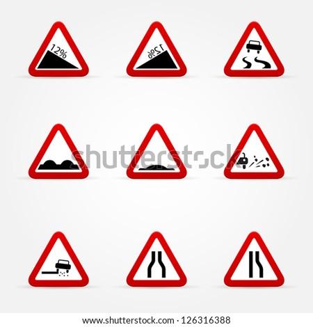 set of warnings road signs - stock vector
