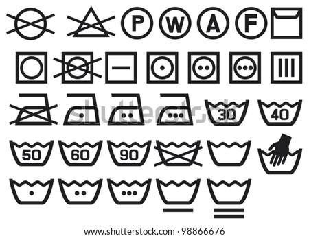 Set Washing Symbols Laundry Icons Bleaching Stock Vector 98866676