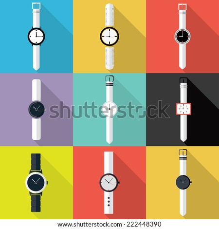 Set of Watch icon. Flat design vector. - stock vector