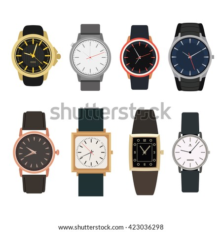 Set of watches in classic design. Vector illustration. Man's gold watches isolated on white background. - stock vector