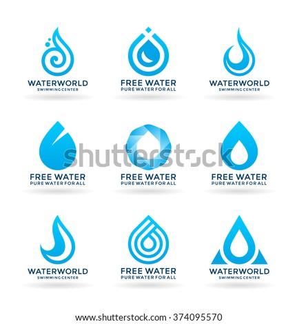 Set of water design elements (6) - stock vector