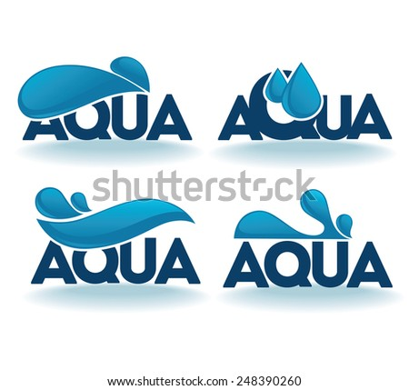 Set of water design stickers, emblems, signs and tags - stock vector