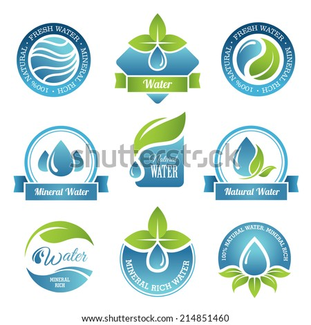 Set of water emblems and labels in vector - stock vector