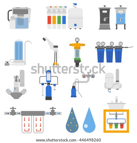 Set of water filter color silhouette icon style isolated on white background. Reverse osmosis system water filters system home fresh container. Vector water filters purity equipment purification. - stock vector