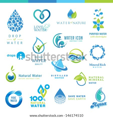 Set of water icons   - stock vector