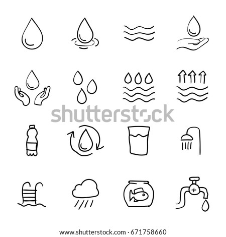 Set Water Modern Doodle Style High Stock Vector Hd Royalty Free