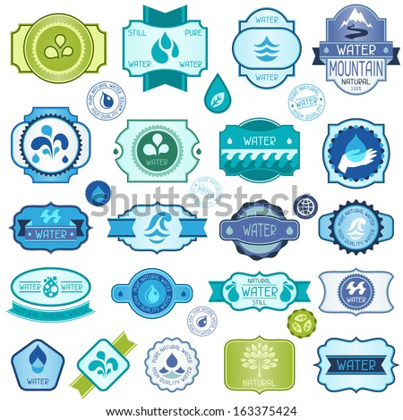 Set of water labels, badges and stickers. - stock vector