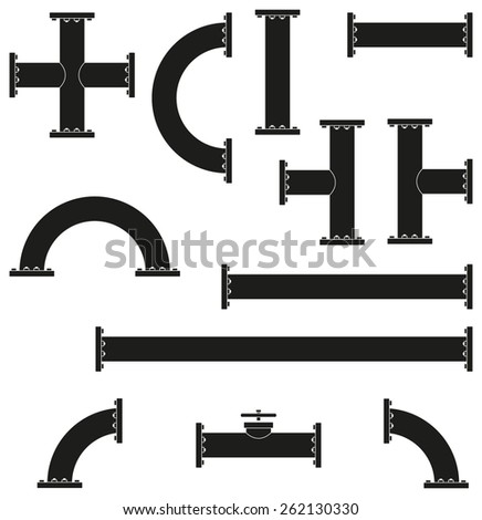 Pipe Fittings Vector Icons Set Tube Stock Vector 309402443