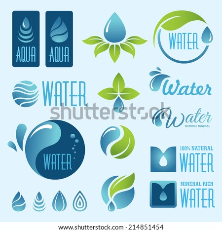 Set of water signs and symbols in vector - stock vector