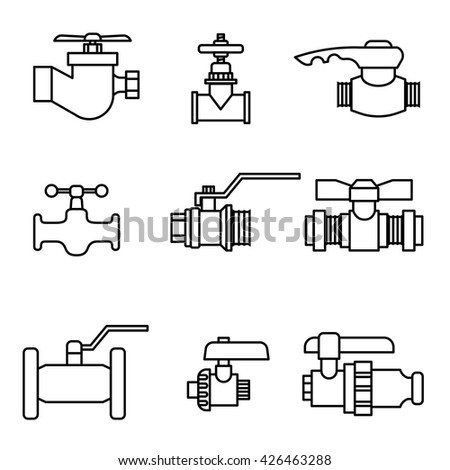 Set of water-supply faucet mixer, tap, valve for water set icon vector illustration - stock vector
