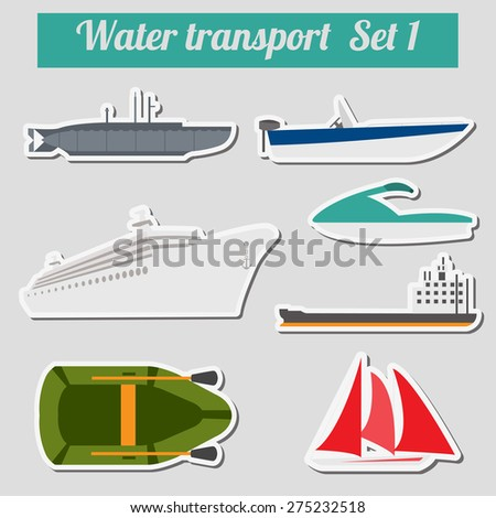 Set of water transport icon  for creating your own infographics or maps. Vector illustration - stock vector