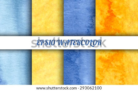 Set of 4 watercolor abstract gradient backgrounds. Vector backgrounds in blue, orange and yellow colors. Handmade backgrounds for cards, banners, invitations, and menus.  - stock vector