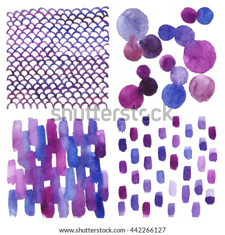Set of watercolor backgrounds. Abstract texture. Blue, purple, pink. Vector.
