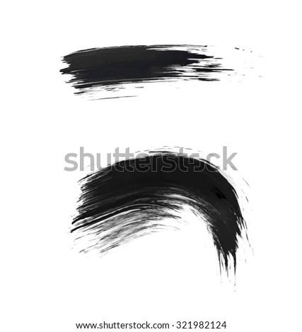 Set of Watercolor brush strokes. Black and white brush. Vector - stock vector