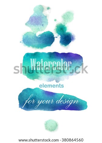 Set of Watercolor brush strokes. blue, green brush. Watercolor splash - stock vector