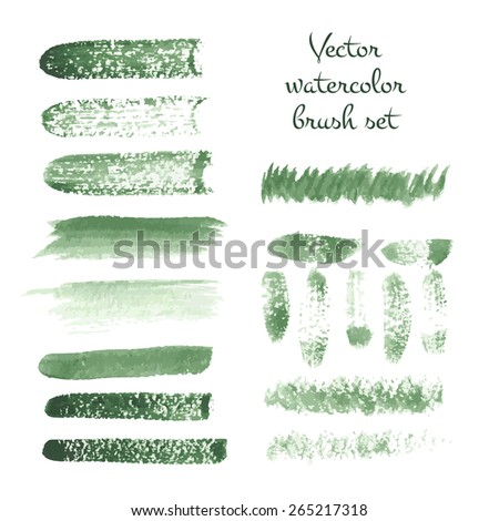Set of watercolor brush vector strokes