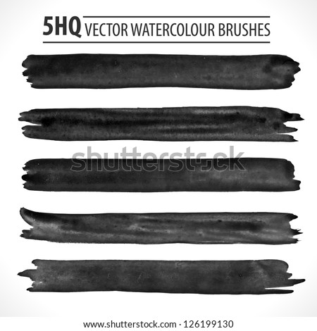 Set of watercolor brushes. Grunge brushes. Design elements. Vector brushes. Hand drawn. Grunge banners. Abstract shape. Retro background. Vintage background. - stock vector