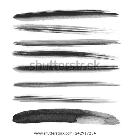 Set of watercolor brushes. Grunge brushes. Design elements. Vector brushes. Hand drawn. Grunge banners. Abstract shape.  - stock vector