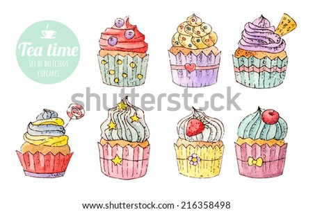 Set of watercolor cupcakes / food / tea - stock vector