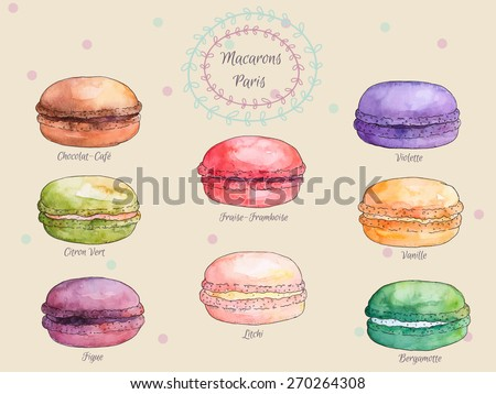 Set of watercolor different taste french macaroons,collection of variation colorful french macarons,vector art image illustration, isolated on vintage background.Beautiful vintage card. - stock vector