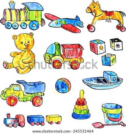 set of watercolor drawing baby toys, cars,bear,horse,ball, cubes, hand drawn vector illustration