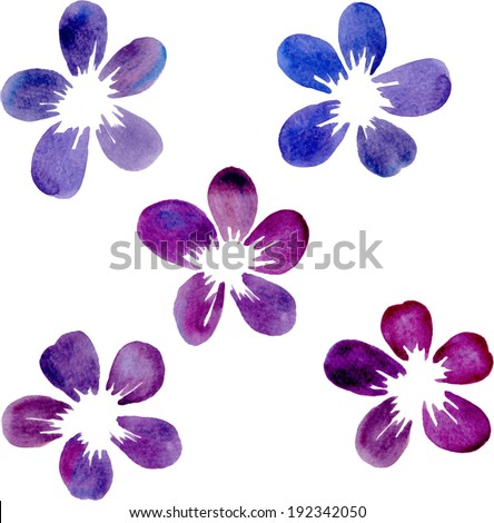 set of watercolor flowers, watercolor design element, hand drawn vector illustration - stock vector
