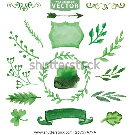 Set of watercolor green branches, laurels ,decor elements. Hand painted leaves,badge,ribbon,arrow,wreath.Design template,invitation,card.Hand sketched brushes. Nature,organic Vector - stock vector