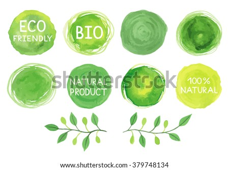 Set of watercolor green logo. Leaves, badges, branches wreath, plants elements. Hand drawn painting. Sign label,textured emblem set. Organic design template. - stock vector
